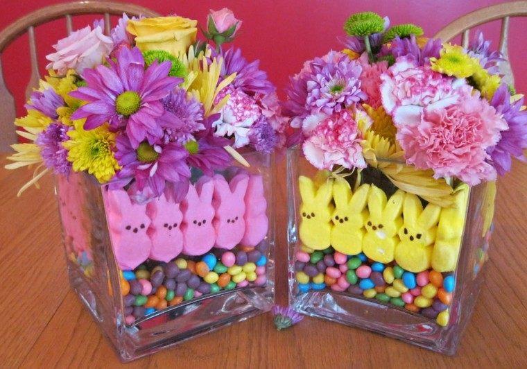 centros mesa colores conejos pascua