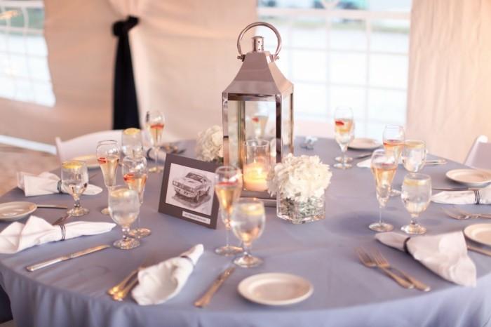 centros de mesa para bodas farola plata ideas