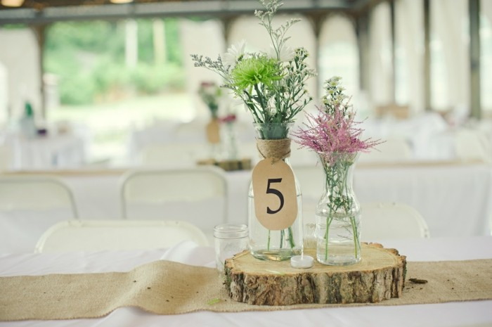 centros de mesa para bodas simples madera ideas