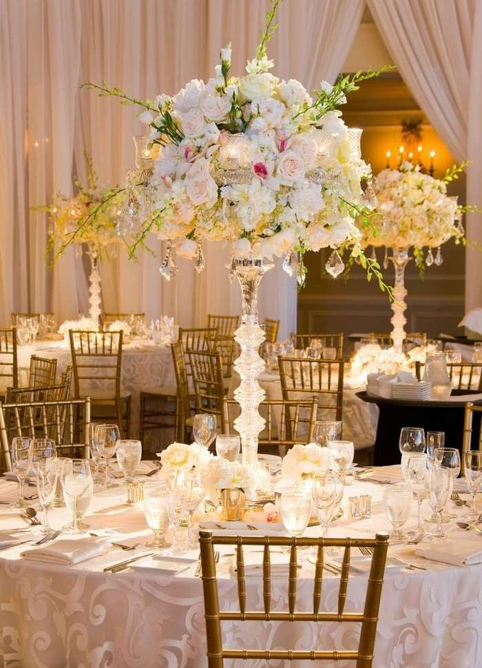 centros bodas cristales colgando ideas