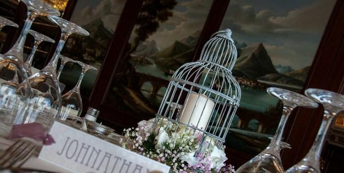 centros bodas flores jaula ideas