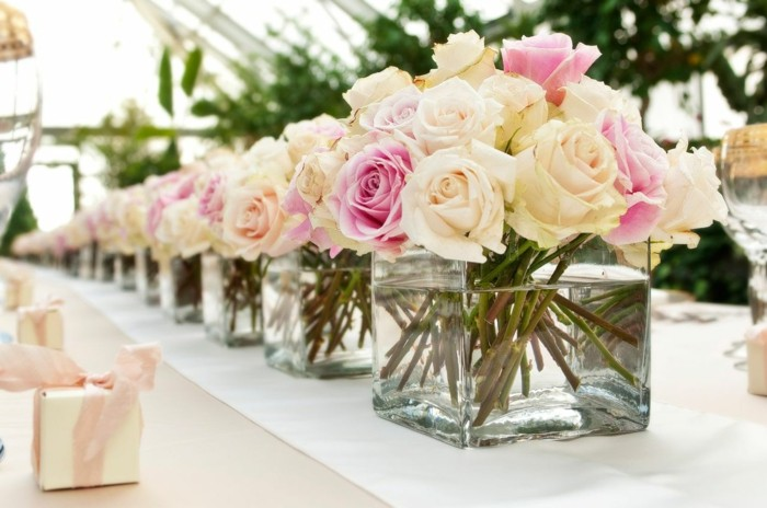 centros bodas flores rosas ideas