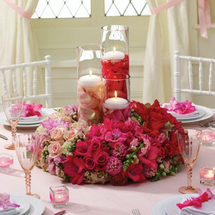 centros mesa bodas flores velas ideas
