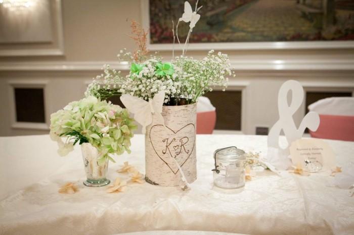 centros mesa bodas madera flores ideas