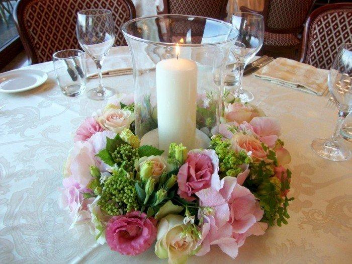 centros mesa bodas nido flores velas ideas