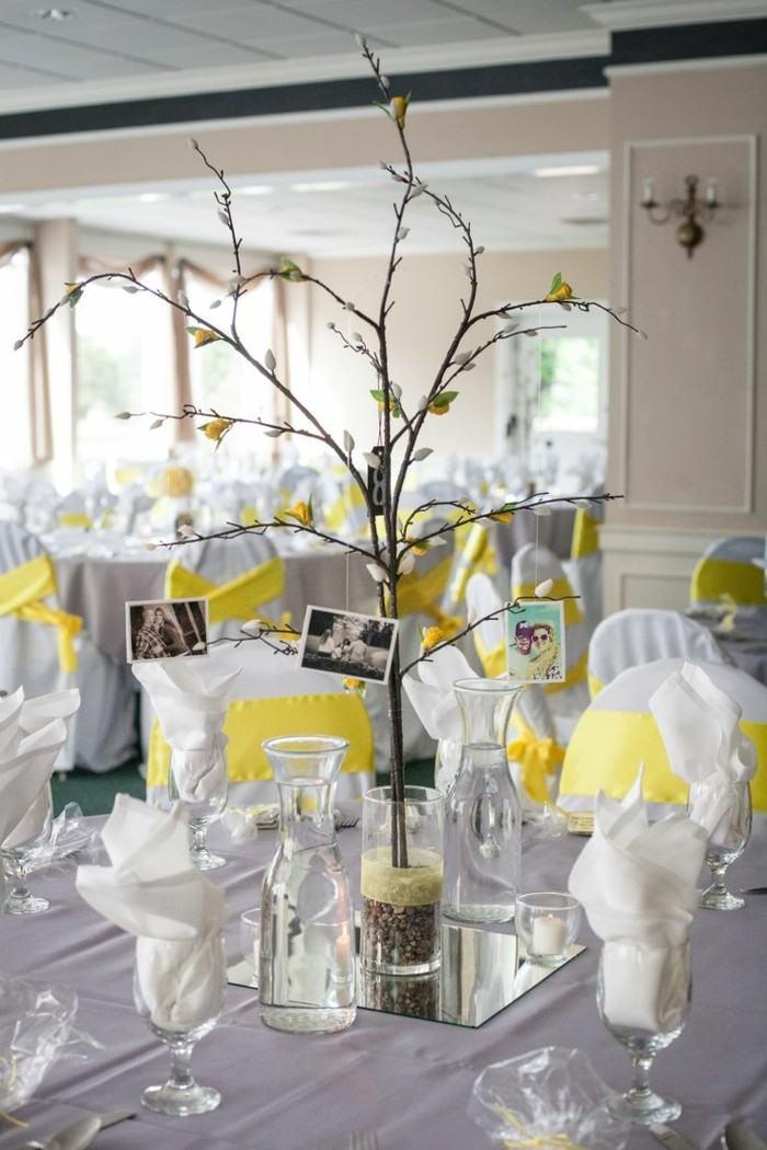 centros mesa bodas ramas estilo simple ideas