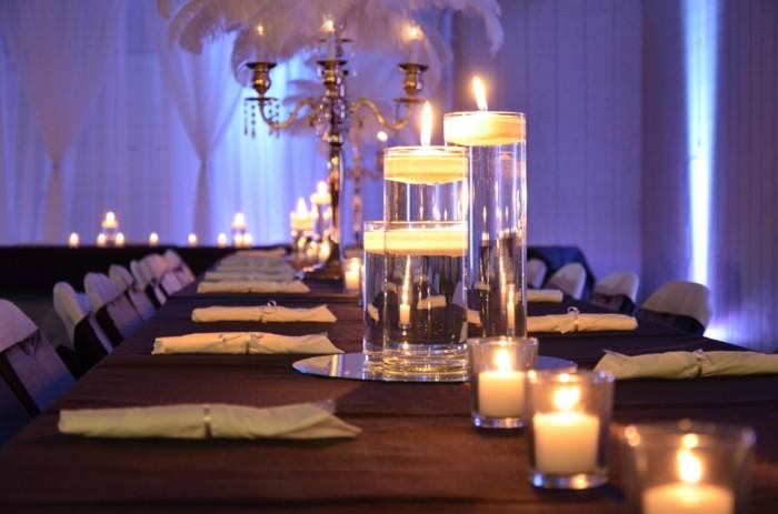 centros mesa bodas velas agua ideas