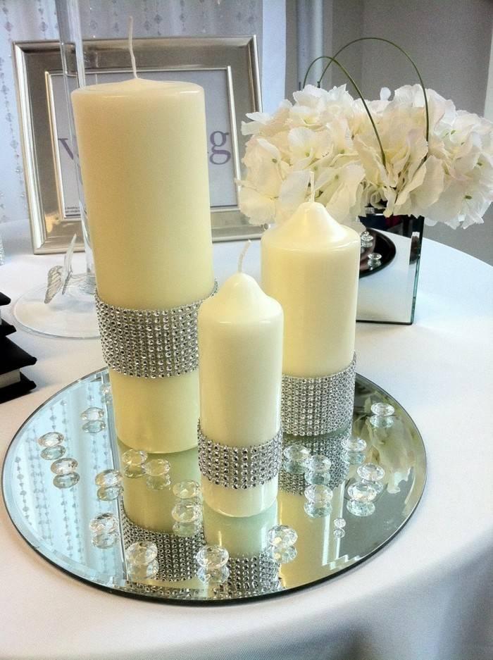 centros mesa bodas velas cristales ideas