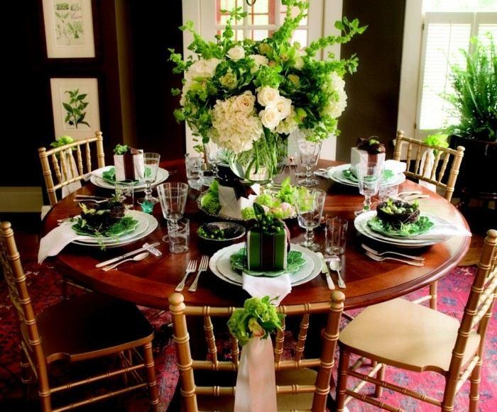 centro mesas bodas verde rosas ideas