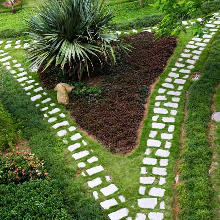 cesped jardin piedras camino plantas ideas