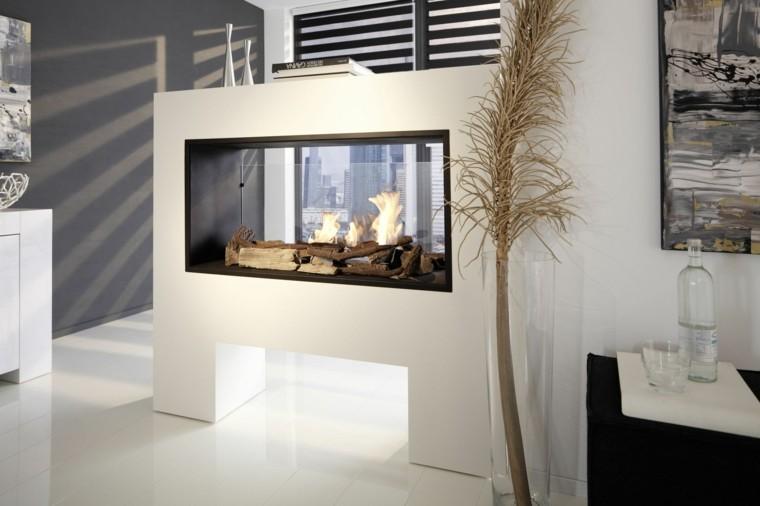 chimenea blanca paneles vidrio