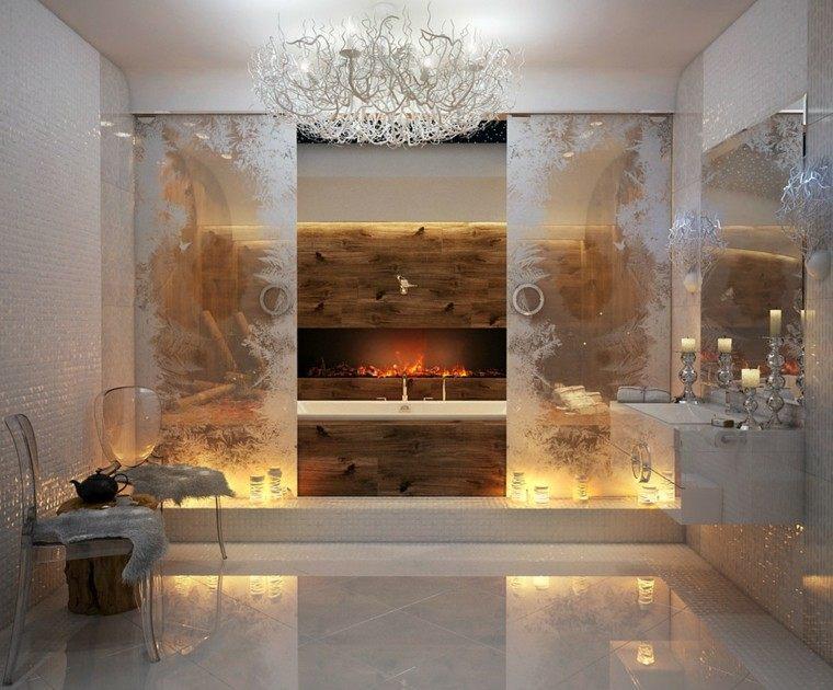 chimeneas modernas baño diseño