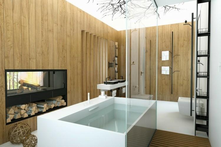decoracion baños esfera troncos estantes