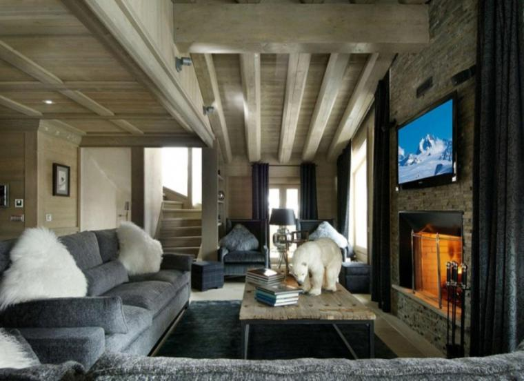 chimenea moderna diseñosalon rustico