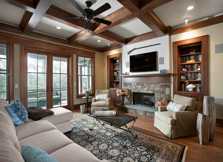 chimenea salon estilo rustico madera