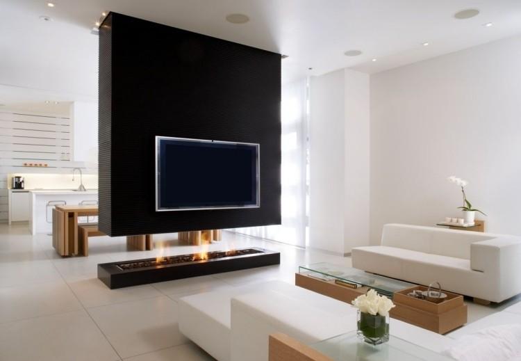 chimeneas salon muro negro