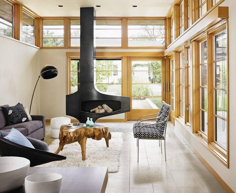 chimeneas fuego calor combinacion estilo escnadinavo rustico ideas