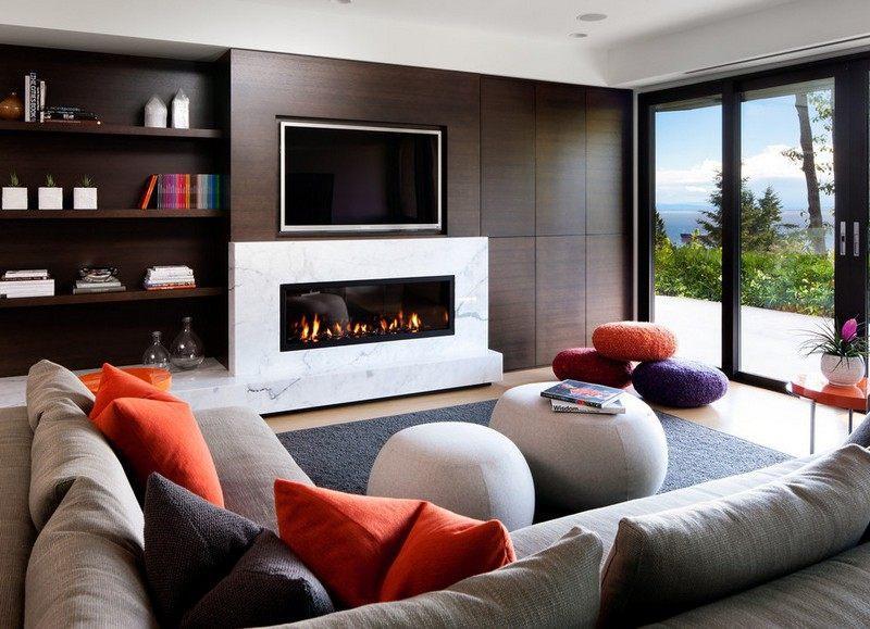 chimeneas fuego calor marmol lujoso ideas