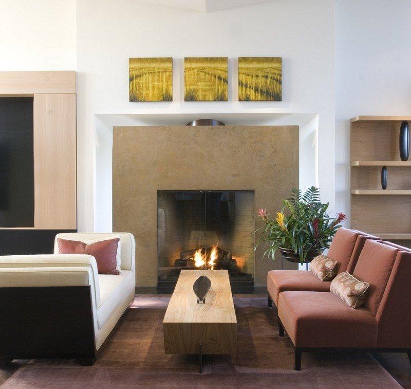 chimenea fuego calor mesa madera ideas