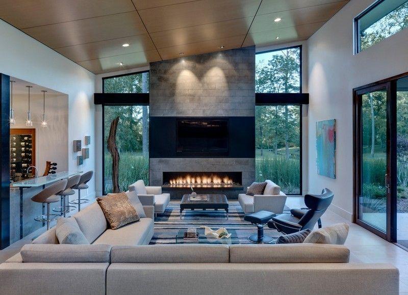 Chimeneas fuego y calor en 53 ideas de dise o - Muebles de chimenea ...