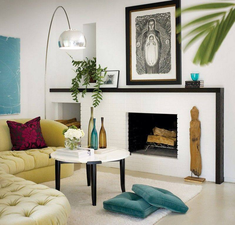 chimenea fuego calor salon sofa moderno ideas