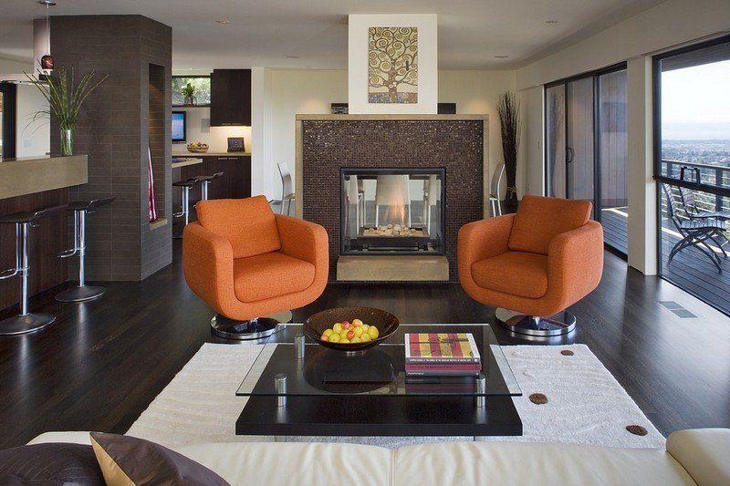 chimenea fuego calor sillones naranja ideas