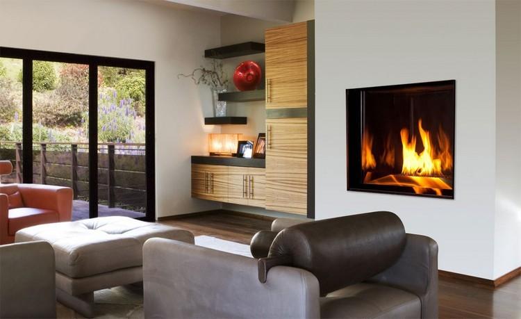 chimeneas modernas decoracion fuego paredes grises