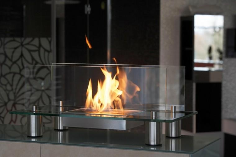 chimeneas modernas diseño vidrio deco