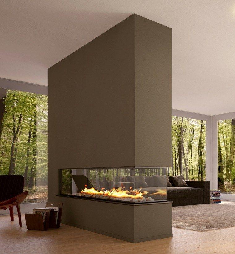 chimeneas salon diseño moderno