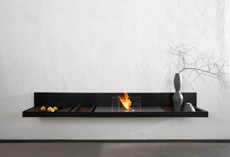 chimeneas minimalistas encimera negra