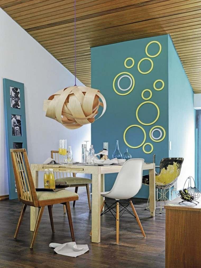 circulos decoranda pared azul ideas