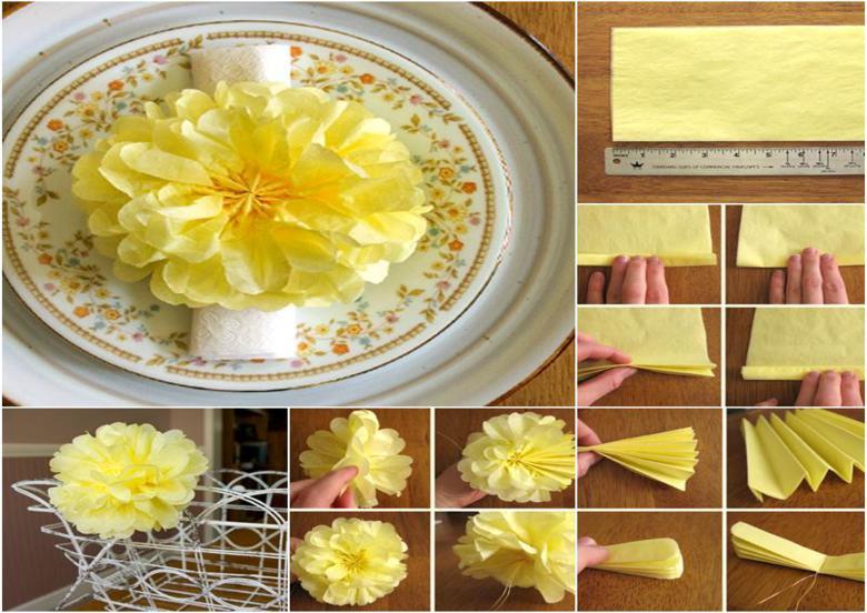 clavel color amarillo servilleta pape