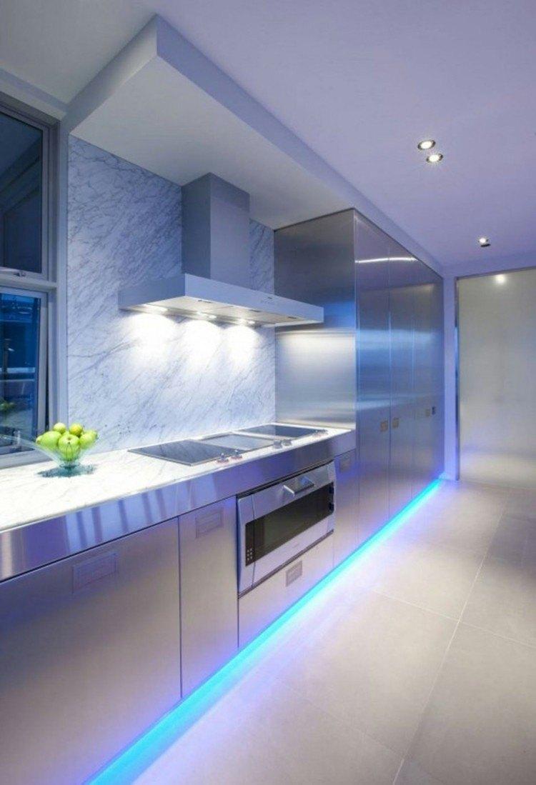cocina futurista muebles acero