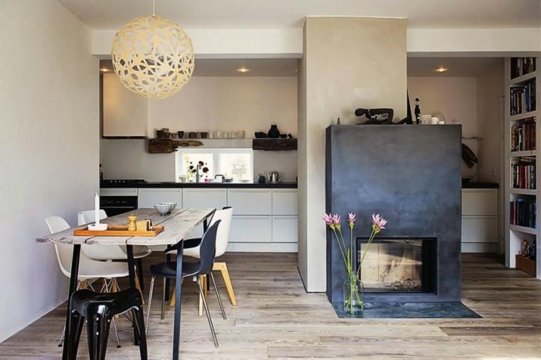 cocina chimenea negra vintage ideas