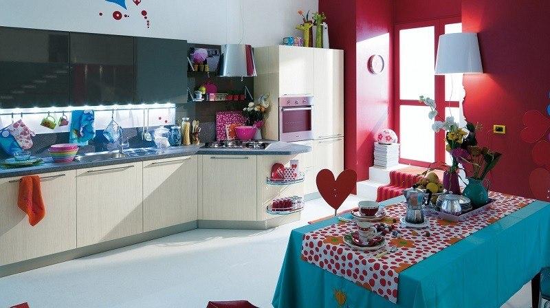 cocina pared roja mantel azul ideas