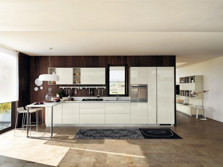 cocina moderna alfombras azules ideas