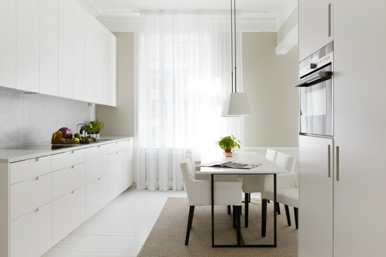cocina moderna blanca preciosa mesa sillas comidas ideas