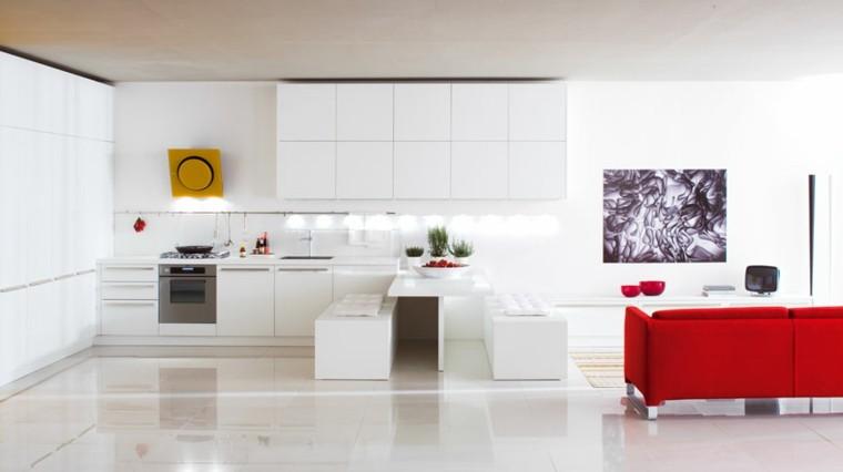 cocinas modernas blanco puro bancos ideas
