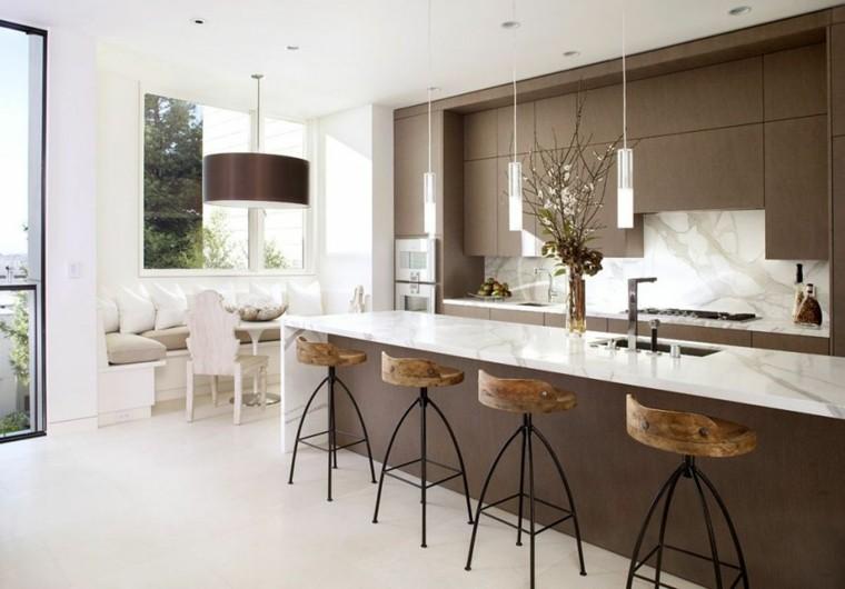 cocina moderna muebles color marrón