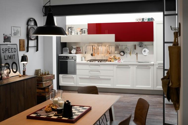 cocinas modernas combinacion blanco rojo ideas