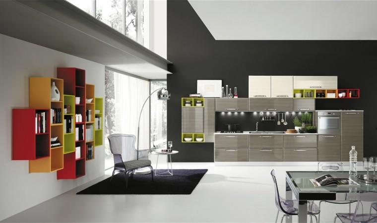 cocinas modernas estanterias colores sillas plastico ideas