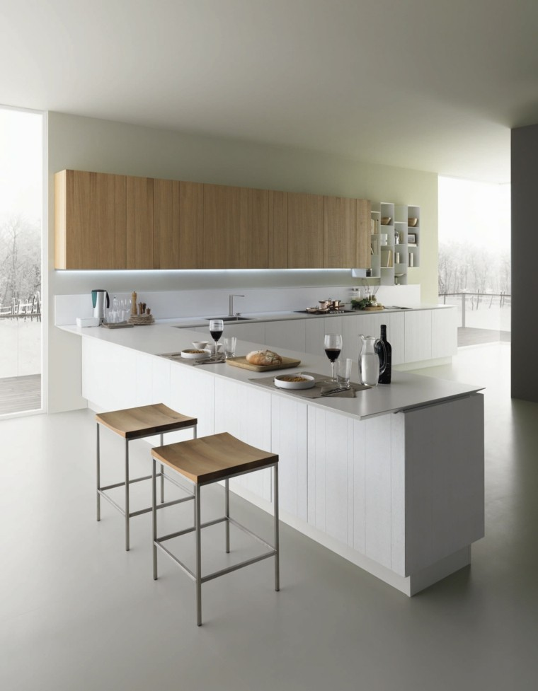 cocina moderna iluminacion LED armarios ideas