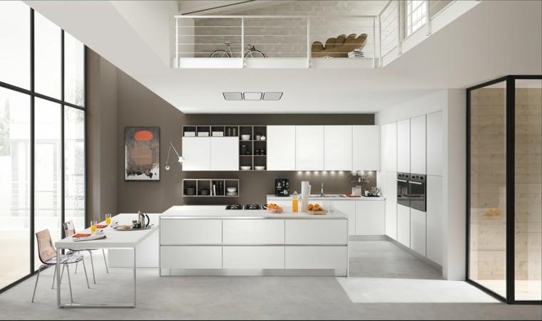 cocina moderna isla blanca ideas