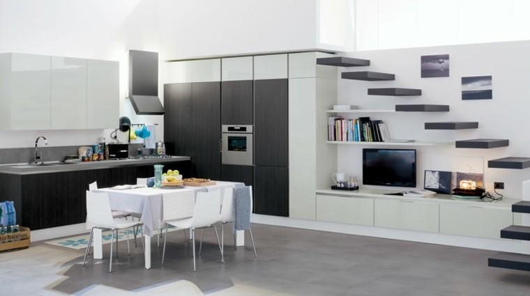 cocina moderna loft escaleras negras ideas