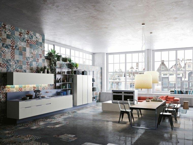 cocina moderna loft losas colores ideas
