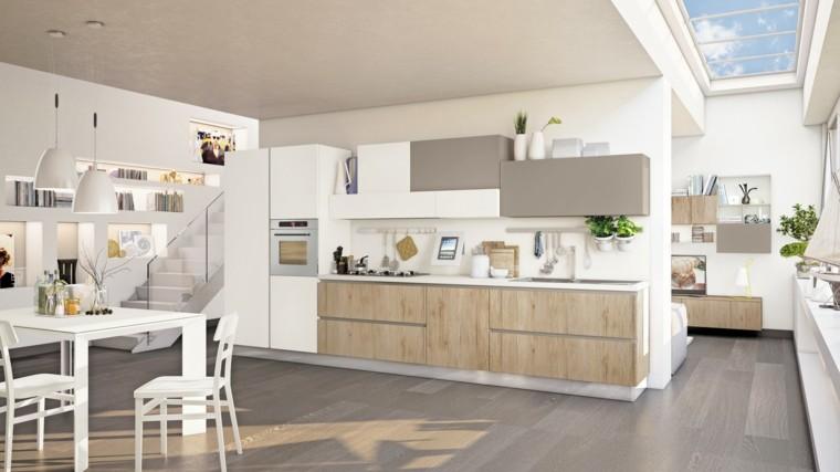 cocina moderna luminosa mesa sillas blancas ideas
