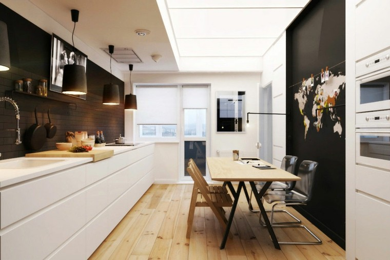 cocina moderna pared negra