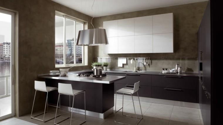 cocina moderna pequena blanco negro ideas