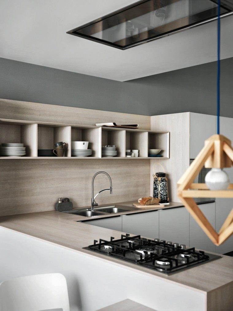 cocina moderna preciosa estanterias abiertas ideas