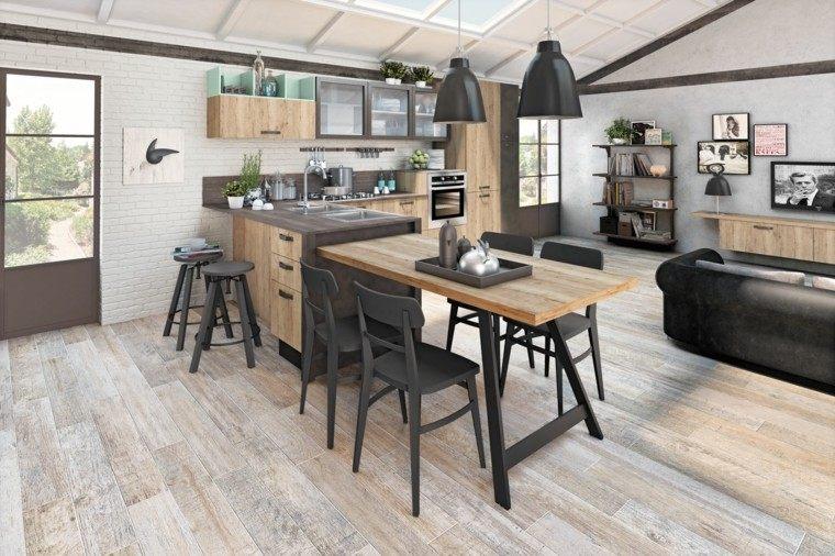 cocina moderna sillas negras abierta salon ideas